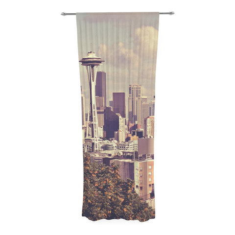 "Sylvia Cook ""Space Needle"" Beige Skyline Decorative Sheer Curtain - KESS InHouse  - 1"