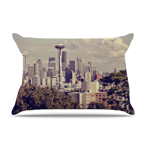 "Sylvia Cook ""Space Needle"" Beige Skyline Pillow Sham - KESS InHouse  - 1"