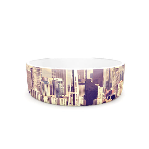 "Sylvia Cook ""Space Needle"" Beige Skyline Pet Bowl - KESS InHouse"
