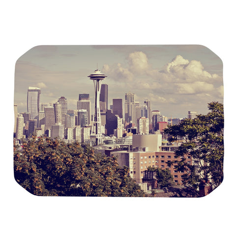 "Sylvia Cook ""Space Needle"" Beige Skyline Place Mat - KESS InHouse"