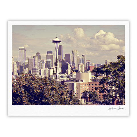"Sylvia Cook ""Space Needle"" Beige Skyline Fine Art Gallery Print - KESS InHouse"
