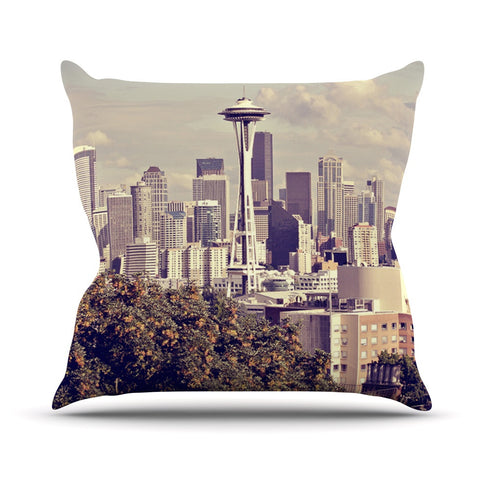 "Sylvia Cook ""Space Needle"" Beige Skyline Outdoor Throw Pillow - KESS InHouse  - 1"