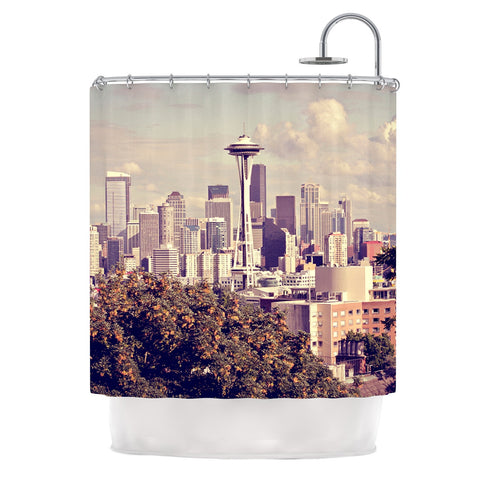 "Sylvia Cook ""Space Needle"" Beige Skyline Shower Curtain - KESS InHouse"