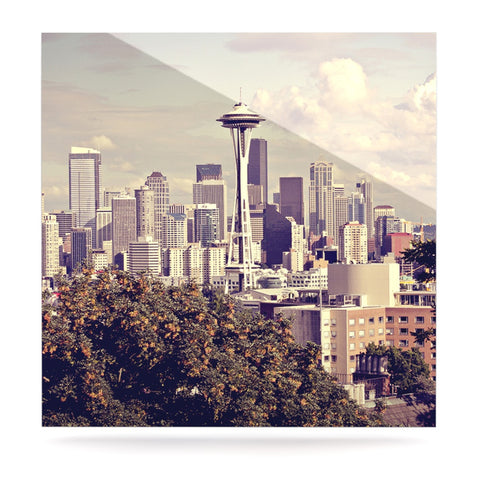 "Sylvia Cook ""Space Needle"" Beige Skyline Luxe Square Panel - KESS InHouse  - 1"