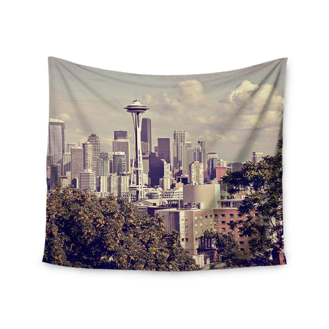 "Sylvia Cook ""Space Needle"" Beige Skyline Wall Tapestry - KESS InHouse  - 1"