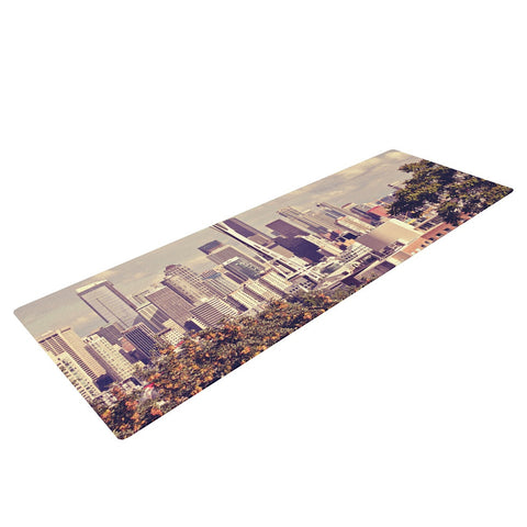 "Sylvia Cook ""Space Needle"" Beige Skyline Yoga Mat - KESS InHouse  - 1"