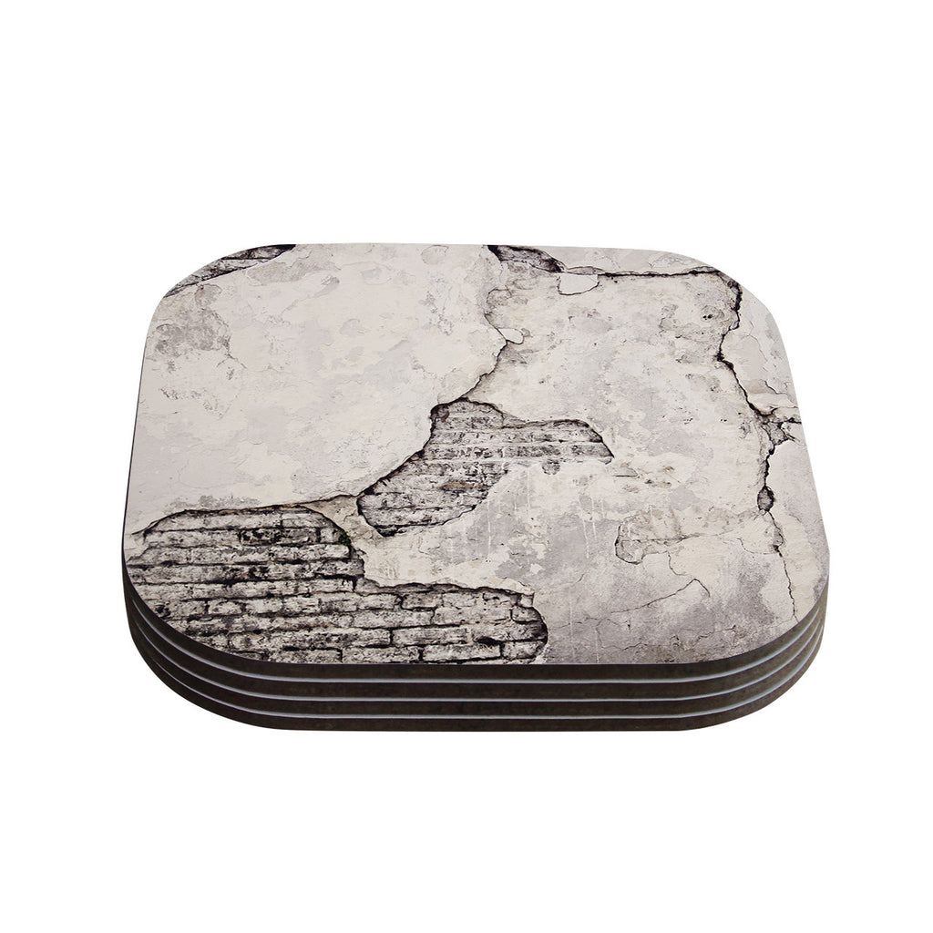 "Sylvia Cook ""Crumbling Wall"" Brown Gray Coasters (Set of 4)"