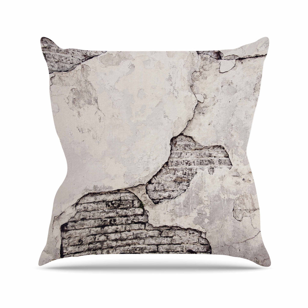 "Sylvia Cook ""Crumbling Wall"" Brown Gray Outdoor Throw Pillow - KESS InHouse  - 1"