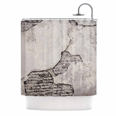 "Sylvia Cook ""Crumbling Wall"" Brown Gray Shower Curtain - KESS InHouse"