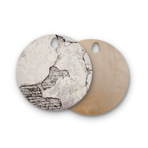 "Sylvia Cook ""Crumbling Wall"" Brown Gray Round Wooden Cutting Board"