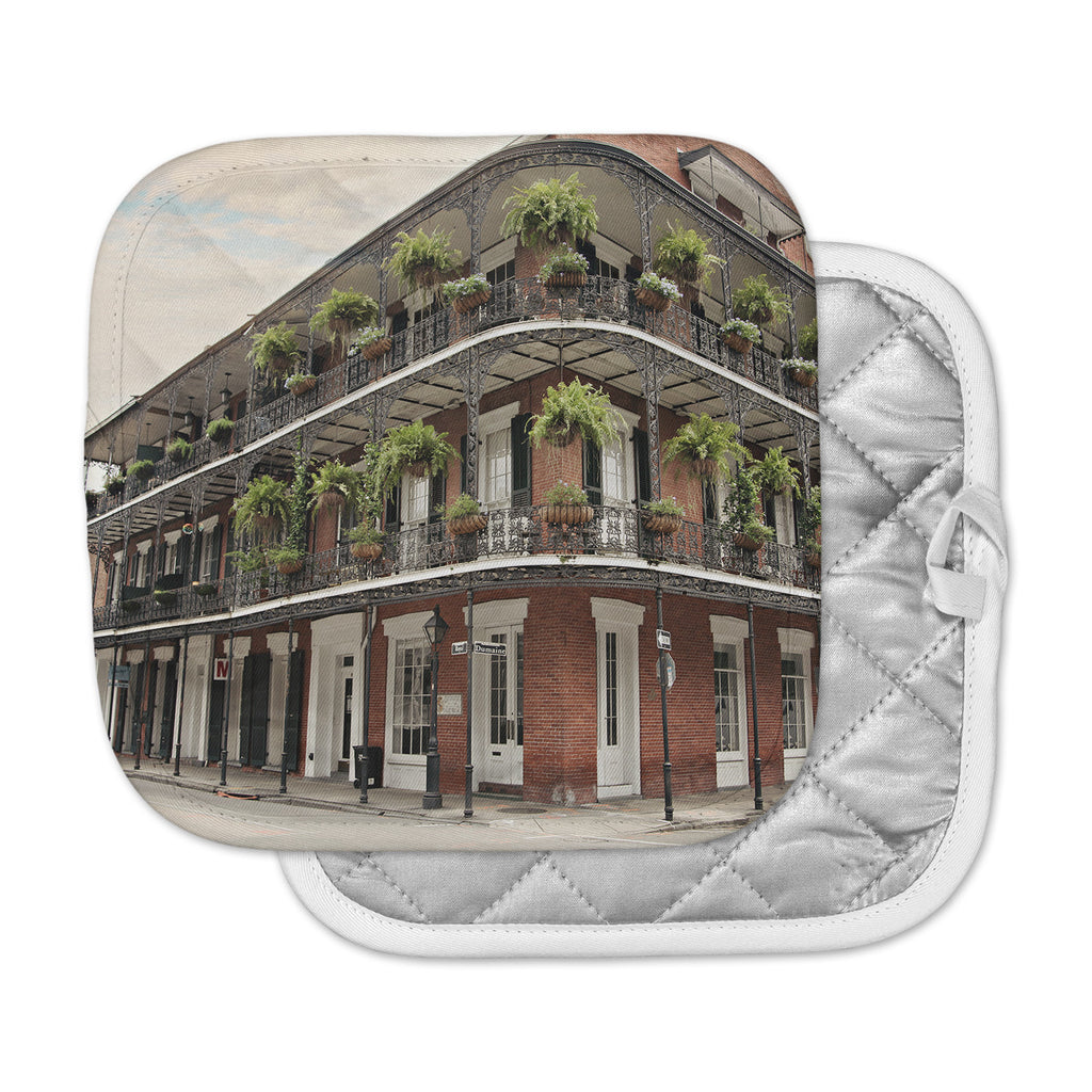 "Sylvia Cook ""New Orleans Street Corner"" Green Brown Pot Holder"