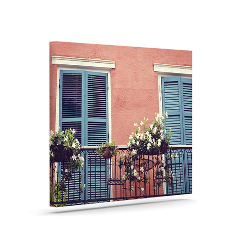 "Sylvia Cook ""New Orleans Balcony"" Pink Blue Canvas Art - KESS InHouse  - 1"