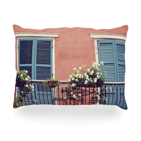 "Sylvia Cook ""New Orleans Balcony"" Pink Blue Oblong Pillow - KESS InHouse"