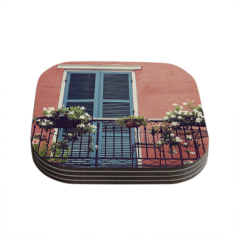 "Sylvia Cook ""New Orleans Balcony"" Pink Blue Coasters (Set of 4)"