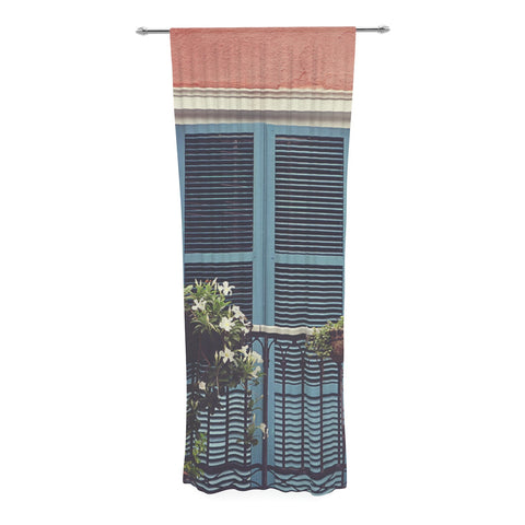 "Sylvia Cook ""New Orleans Balcony"" Pink Blue Decorative Sheer Curtain - KESS InHouse  - 1"