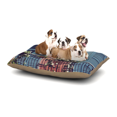 "Sylvia Cook ""New Orleans Balcony"" Pink Blue Dog Bed - KESS InHouse  - 1"