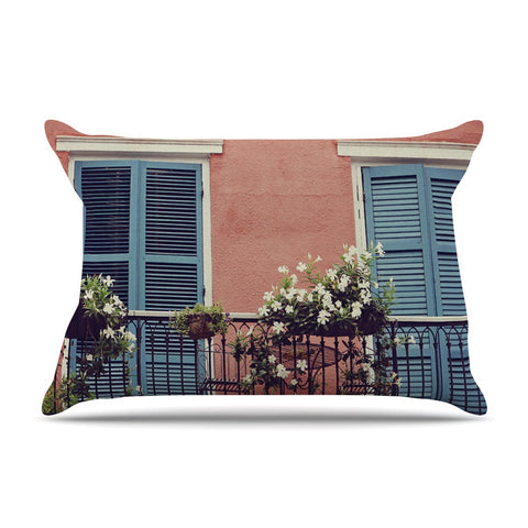 "Sylvia Cook ""New Orleans Balcony"" Pink Blue Pillow Sham - KESS InHouse"