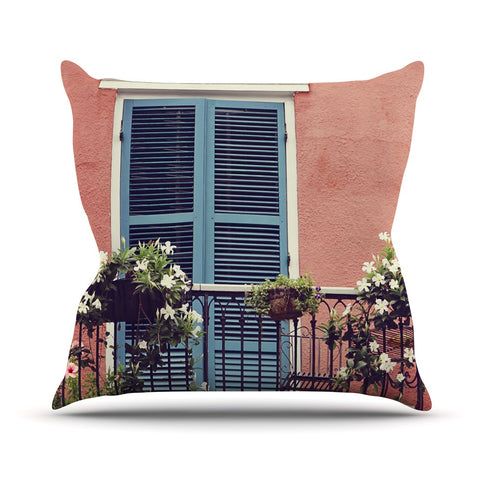 "Sylvia Cook ""New Orleans Balcony"" Pink Blue Outdoor Throw Pillow - KESS InHouse  - 1"