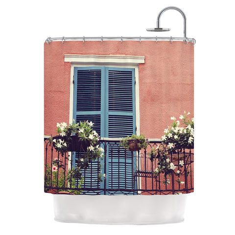 "Sylvia Cook ""New Orleans Balcony"" Pink Blue Shower Curtain - KESS InHouse"