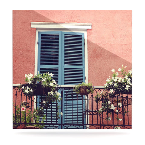 "Sylvia Cook ""New Orleans Balcony"" Pink Blue Luxe Square Panel - KESS InHouse  - 1"
