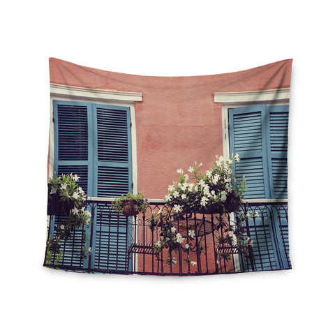 "Sylvia Cook ""New Orleans Balcony"" Pink Blue Wall Tapestry - KESS InHouse  - 1"