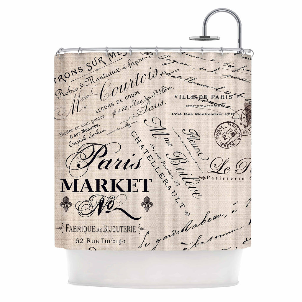 French Script Shower Curtain By Sylvia Cook