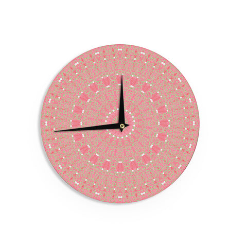 "Sylvia Cook ""Boho Hearts Coral"" Pink Orange Wall Clock - KESS InHouse"