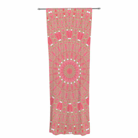 "Sylvia Cook ""Boho Hearts Coral"" Pink Orange Decorative Sheer Curtain - KESS InHouse  - 1"