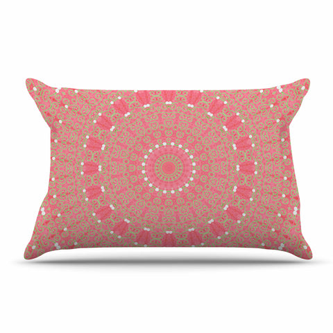 "Sylvia Cook ""Boho Hearts Coral"" Pink Orange Pillow Sham - KESS InHouse  - 1"
