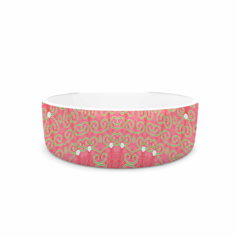 "Sylvia Cook ""Boho Hearts Coral"" Pink Orange Pet Bowl - KESS InHouse"
