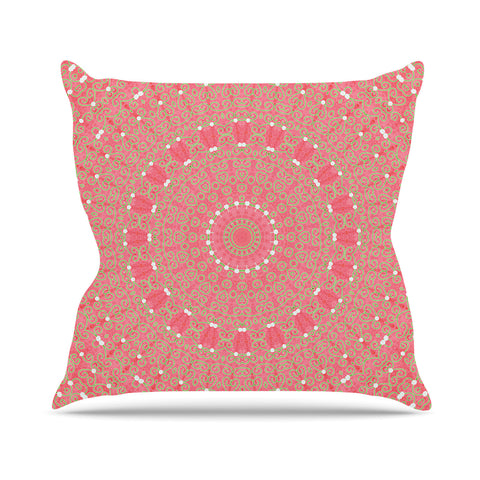 "Sylvia Cook ""Boho Hearts Coral"" Pink Orange Outdoor Throw Pillow - KESS InHouse  - 1"