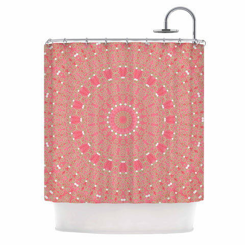 "Sylvia Cook ""Boho Hearts Coral"" Pink Orange Shower Curtain - KESS InHouse"