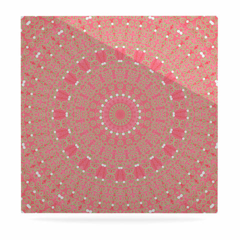 "Sylvia Cook ""Boho Hearts Coral"" Pink Orange Luxe Square Panel - KESS InHouse  - 1"