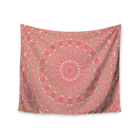 "Sylvia Cook ""Boho Hearts Coral"" Pink Orange Wall Tapestry - KESS InHouse  - 1"