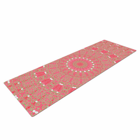 "Sylvia Cook ""Boho Hearts Coral"" Pink Orange Yoga Mat - KESS InHouse  - 1"