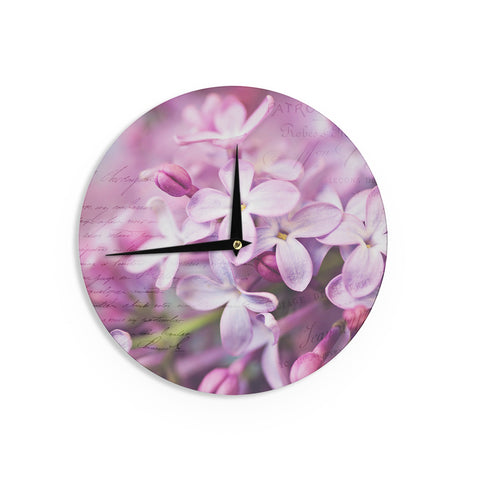 "Sylvia Cook ""French Lilacs "" Purple Photography Wall Clock - KESS InHouse"
