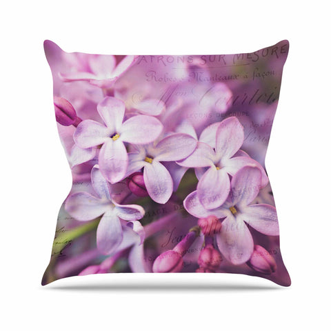"Sylvia Cook ""French Lilacs"" Purple Photography Outdoor Throw Pillow - KESS InHouse  - 1"