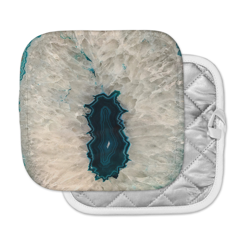 "Sylvia Cook ""Aqua Quartz"" Geological White Pot Holder"