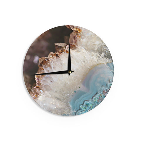"Sylvia Cook ""Quartz Waves"" Blue Brown Wall Clock - KESS InHouse"