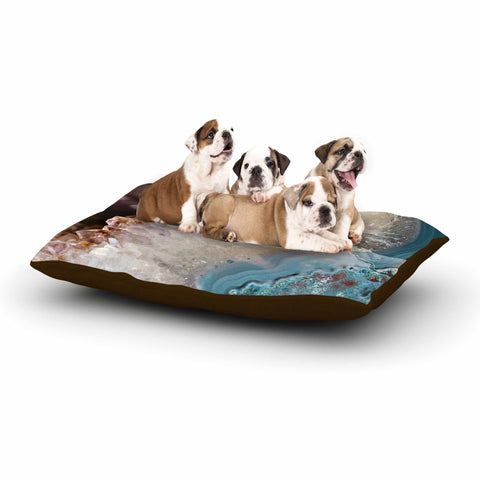 "Sylvia Cook ""Quartz Waves"" Blue Brown Dog Bed - KESS InHouse  - 1"