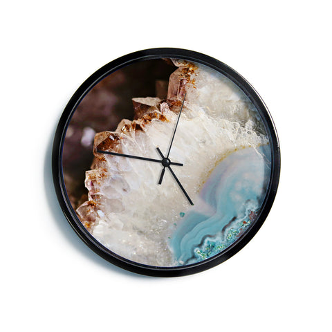 "Sylvia Cook ""Quartz Waves"" Blue Brown Modern Wall Clock"