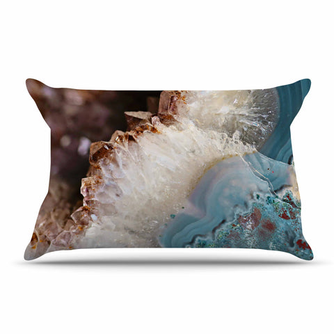 "Sylvia Cook ""Quartz Waves"" Blue Brown Pillow Sham - KESS InHouse  - 1"