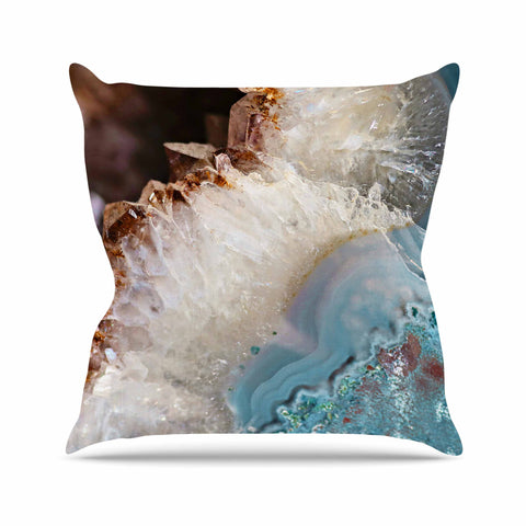 "Sylvia Cook ""Quartz Waves"" Blue Brown Outdoor Throw Pillow - KESS InHouse  - 1"
