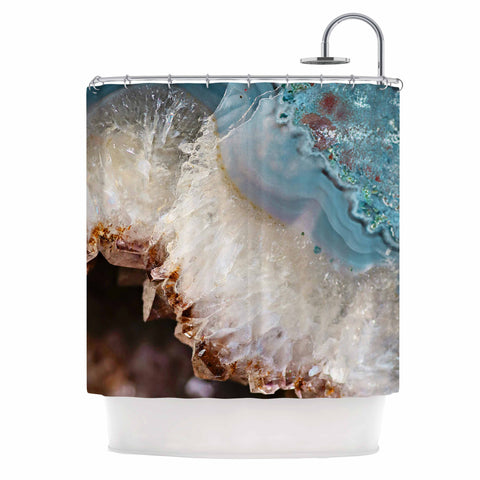 "Sylvia Cook ""Quartz Waves"" Blue Brown Shower Curtain - KESS InHouse"