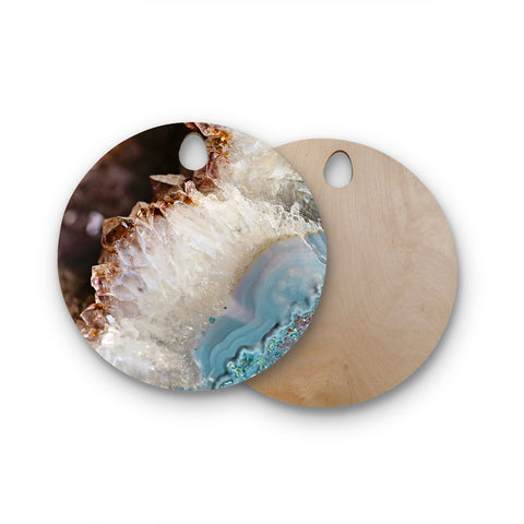 "Sylvia Cook ""Quartz Waves"" Blue Brown Round Wooden Cutting Board"