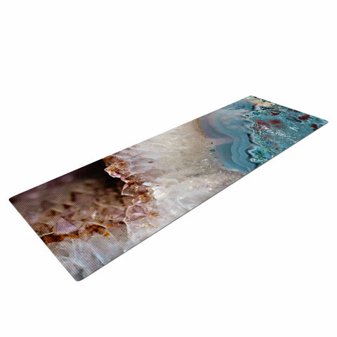 "Sylvia Cook ""Quartz Waves"" Blue Brown Yoga Mat - KESS InHouse  - 1"