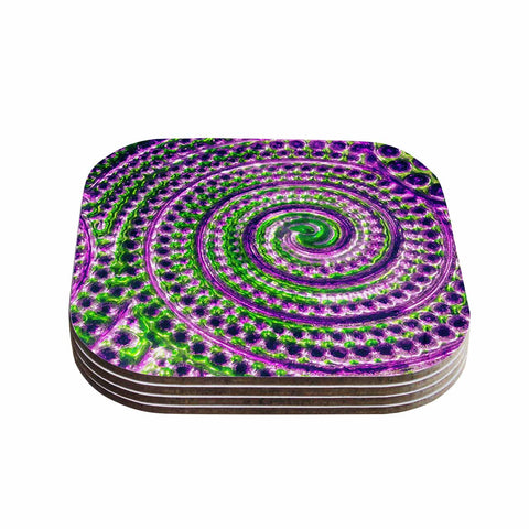 "Sylvia Cook ""Color Inspiration"" Green Purple Coasters (Set of 4)"