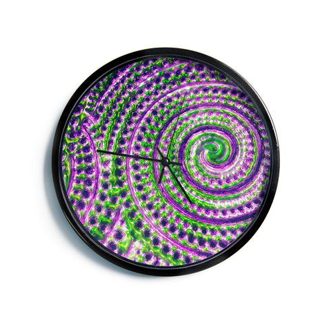 "Sylvia Cook ""Color Inspiration"" Green Purple Modern Wall Clock"