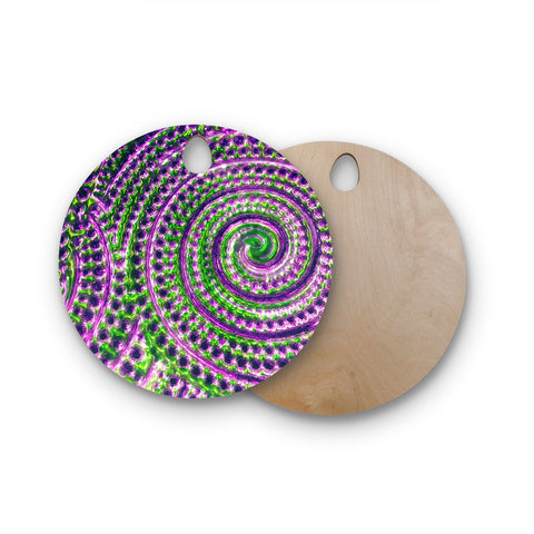 "Sylvia Cook ""Color Inspiration"" Green Purple Round Wooden Cutting Board"