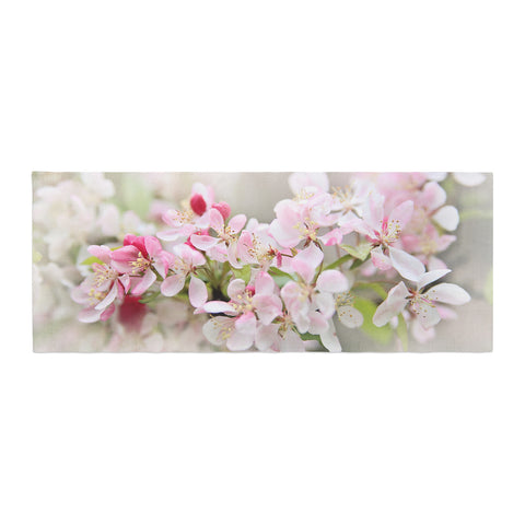 "Sylvia Cook ""April Flowers"" Pink White Bed Runner - KESS InHouse  - 1"